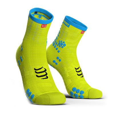 COMPRESSPORT - PRORACING V3 RUN HIGH - Chaussettes fluo yellow