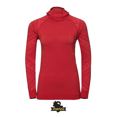 ODLO - T-shirt ML capuche NATURAL Femme baked apple melange