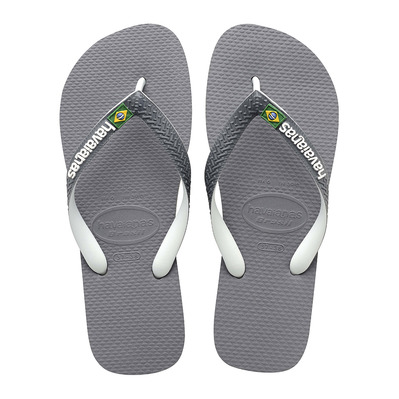 HAVAIANAS - BRASIL MIX - Tongs Homme steel grey/white/white