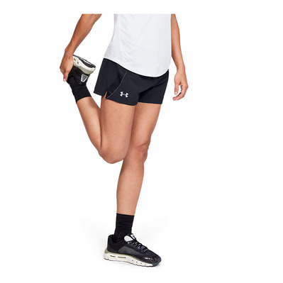 UNDER ARMOUR - QUALIFIER SP - Short mujer black/jet gray/reflective