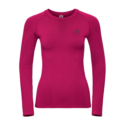 ODLO - T-shirt ML PERFORMANCE WARM Femme cerise - decadent chocolate