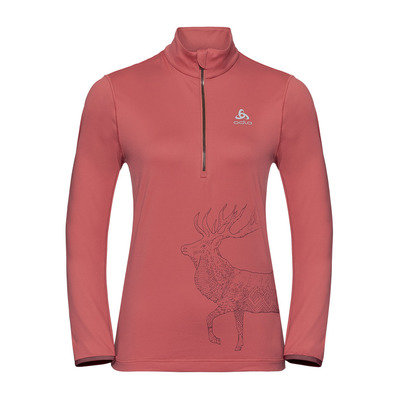 ODLO - Pull 1/2 zip TRAFOI Femme faded rose - placed print FW19