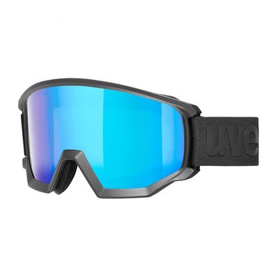 UVEX - ATHLETIC CV - Masque ski black mat/mirror blue radar