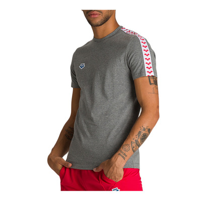ARENA - TEAM - Tee-shirt Homme dark grey melange/white/red