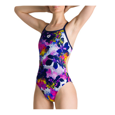 ARENA - W GLOW FLORAL CHALLENGE BACK ONE PIECE Femme NAVY-MULTI