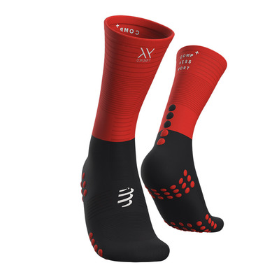 COMPRESSPORT - MID COMPRESSION - Chaussettes black/red