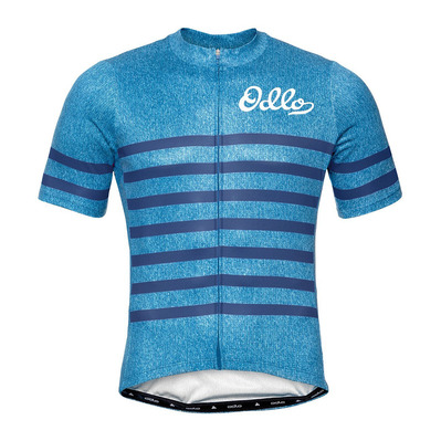 ODLO - Stand-up collar s/s full zip ELEMENT hombre blue aster melange - estate blue