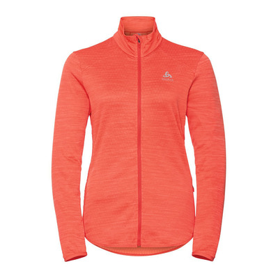 ODLO - Midlayer full zip STEAM Femme hot coral melange