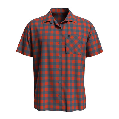 ODLO - MYTHEN - Camisa hombre mandarin red/china blue/check