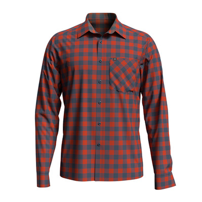 ODLO - Shirt l/s MYTHEN Homme mandarin red - china blue - check