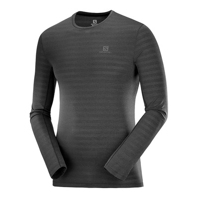 SALOMON - T Shirt XA LS TEE M Black/Heather Homme BLACK/HEATHER