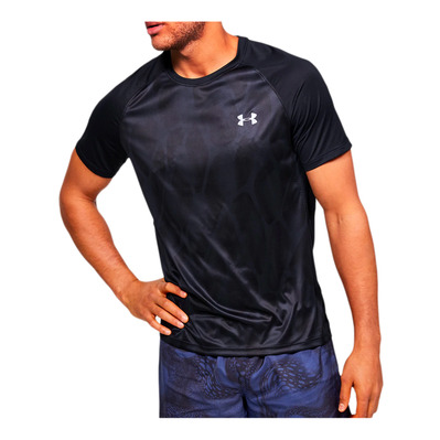 UNDER ARMOUR - M UA Qualifier ISO-CHILL Printed Short S Homme Black/Black/Reflective