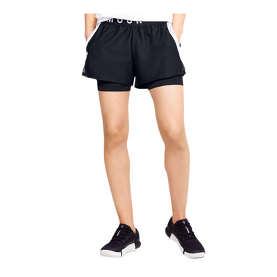 UNDER ARMOUR - PLAY UP - Short 2 en 1 mujer black/black/white