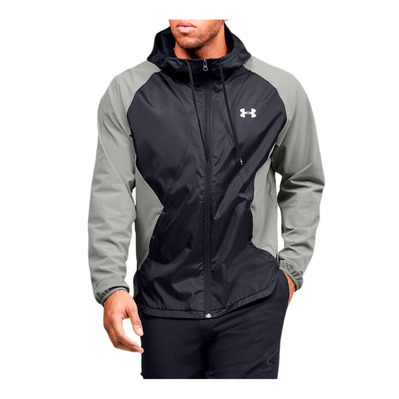 UNDER ARMOUR - STRETCH-WOVEN HOODED JACKET-GRN Homme Gravity Green/Black/Onyx White