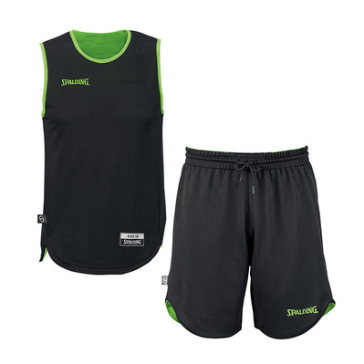 DOUBLE FACE - Camiseta + Short  reversible junior flash green/black