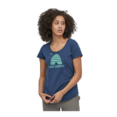 PATAGONIA - LIVE SIMPLY HIVE ORGANIC SCOOP - Tee-shirt Femme stone blue