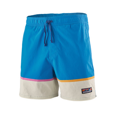 PATAGONIA - M's Stretch Wavefarer Volley Shorts - 16 in. Homme Bottom Leg Stripe: Joya Blue