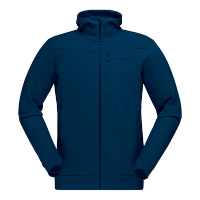 NORRONA - FALKETIND WARMWOOL2 STRETCH ZIP HOOD - Sudadera hombre indigo night