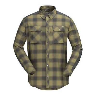 NORRONA - svalbard flannel Shirt (M) Olive Drab/Slate GreyHomme