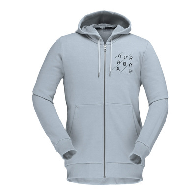 NORRONA - /29 COTTON SLANT LOGO ZIP HOOD - Sweat Homme grey melange