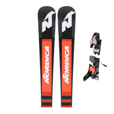 DOBERMANN GSM RB PISTON 18 - Skis piste Homme black/red + Fixations RACE XCELL14 black/fluo red