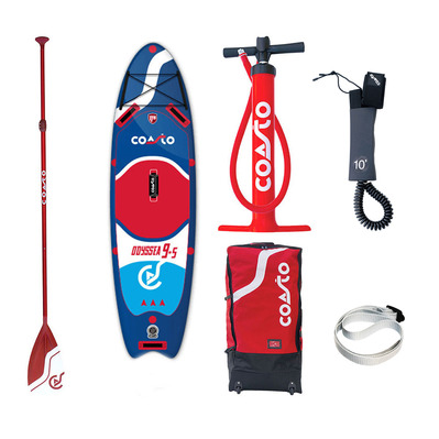 "ODYSSEA 9'5"" - Stand up paddle gonflable blue/red + accessoires"