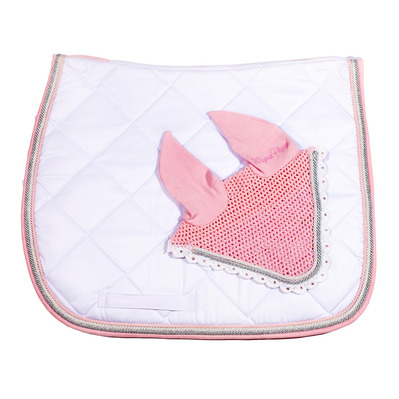 Wagner SADDLEPAD SET - Tapis de dressage + bonnet white/silver/old rose