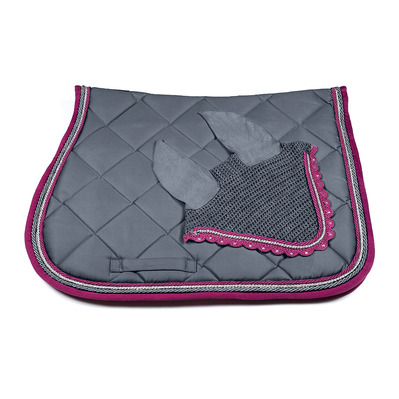 Wagner SADDLEPAD SET - Tapis de dressage + bonnet grey/silver/magenta