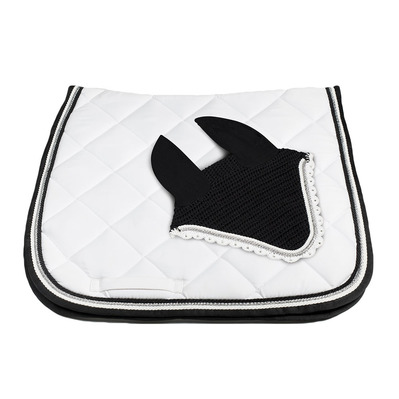Wagner SADDLEPAD SET - Tapis de dressage + bonnet white/silver/black