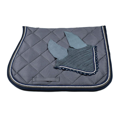 Wagner SADDLEPAD SET - Tapis de dressage + bonnet grey/silver/blue