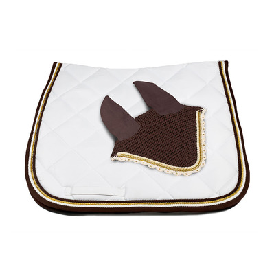 Wagner SADDLEPAD SET - Tapis de dressage + bonnet white/brown/gold