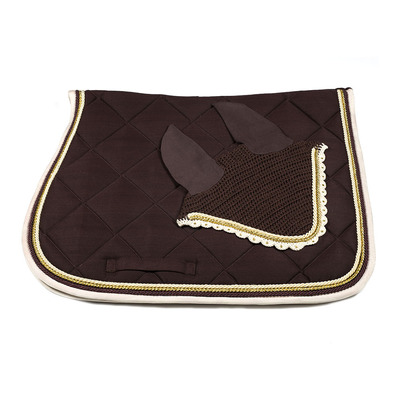 Wagner SADDLEPAD SET - Tapis mixte + bonnet brown/beige/gold