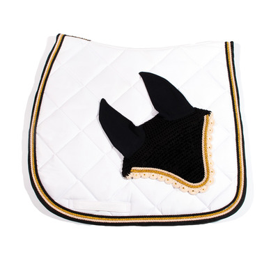 Wagner SADDLEPAD SET - Tapis de dressage + bonnet white/gold
