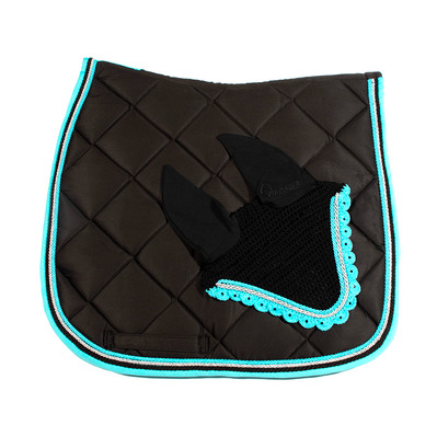 Wagner SADDLEPAD SET - Tapis de dressage + bonnet black/cyan