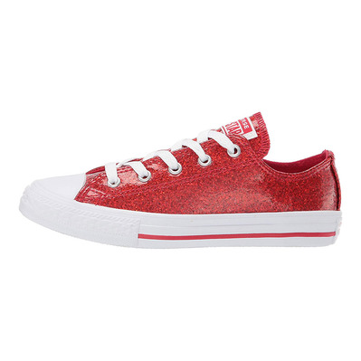 CONVERSE - CHUKC TAYLOR ALL STAR GLITTER COATED LOW TOP - Shoes - Junior - cherry red/white grade B