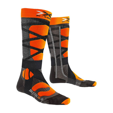 X-BIONIC - SKI CONTROL - Socks - anthracite marl/x-orange