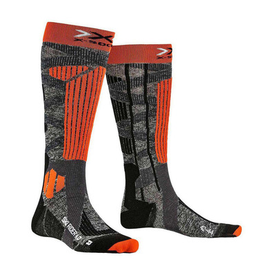 X-BIONIC - SKI RIDER - Socks - stone grey marl/x-orange