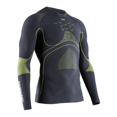 X-BIONIC - ENERGY ACCUM RNECK LS M - Base Layer - Men's - charcoal/yellow