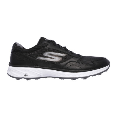 SKECHERS - GO GOLF FAIRWAY - Shoes - Men's - black leather/textile/white trim