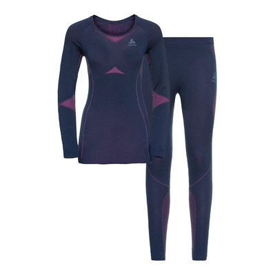 ODLO - PERFORMANCE EVOLUTION - Maglia termica + Calzamaglia Donna diving navy/beetroot purple