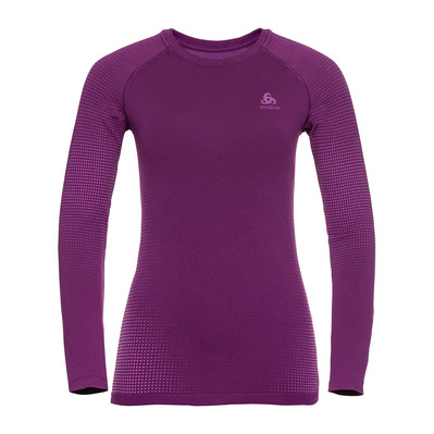 ODLO - BL TOP Crew neck l/s PERFORMANCE WARM EC Femme charisma - purple cactus flower