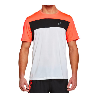 ASICS - RACE - Maglia Uomo brilliant white/flash coral