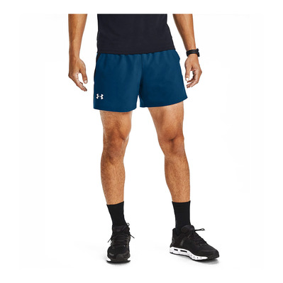 UNDER ARMOUR - LAUNCH SW 5'' - Short Uomo graphite blue/black/reflective