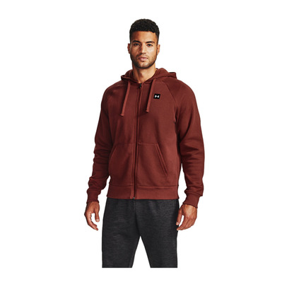 UNDER ARMOUR - UA Rival Fleece FZ Hoodie-RED Homme Cinna Red/Onyx White