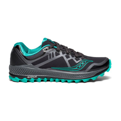 SAUCONY - PEREGRINE 8 GTX - Trail Shoes - Women's - black/grey/green