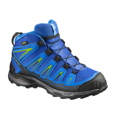 SALOMON - X-ULTRA MID GTX - Hiking Shoes - Junior - blue yonder/bright blue/granny green