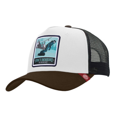 THE INDIAN FACE - BORN TO SNOWBOARD - Gorra white/black/brown