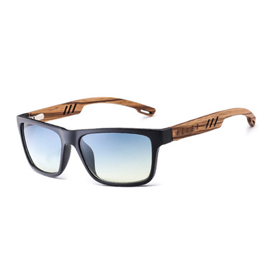 FELER - CLIFF LAYERED - Polarised Sunglasses - blue/zebrawood/blue