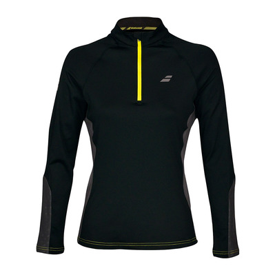 BABOLAT - CORE 1/2 ZIP - Camiseta mujer black/rabbit