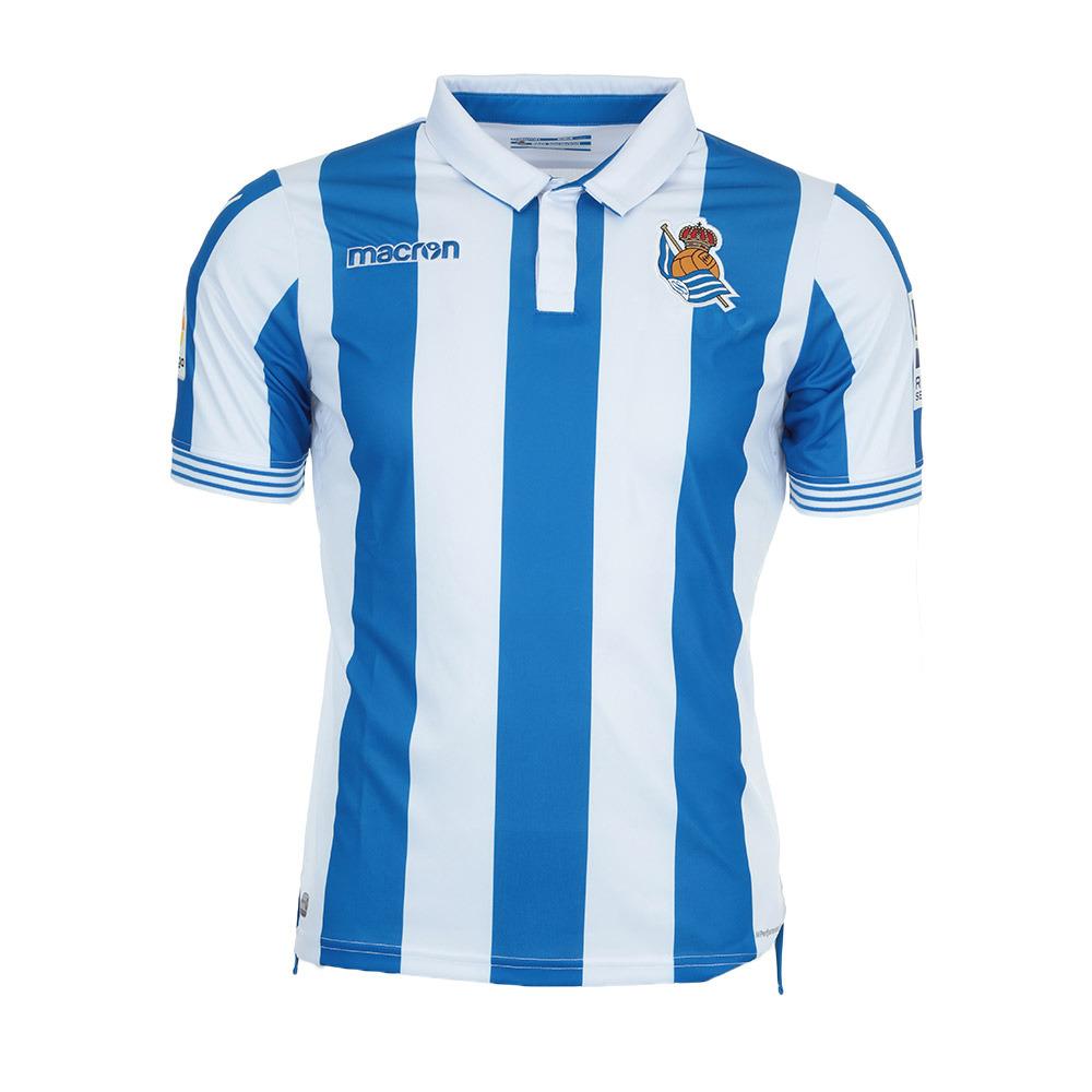 Macron Football Macron Real Sociedad Home 18 Jersey Junior Blue Royal White Private Sport Shop